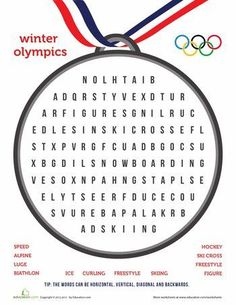 Free printable winter Olympic word search