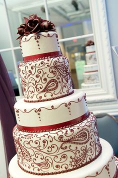 Gorgeous 5 tiered Red and White Cake!!  Get your four complimentary tickets to one of our Luxury Bridal Events at www.bridalexpotickets.com