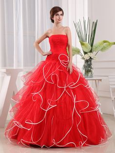 Strapless Ball Gown Tulle and Satin Quinceanera Dress with Pleating Brands:AmarantaFreeship:YESModel Name:KatieTailoring Time (Standard):15-20 DaysTailoring Time (Rush Order):10-15 DaysSilhouette:Ball GownNeckline:Straight…