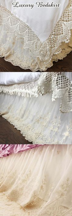 Shabby French Chic, French Cottage, Shabby Chic Decor, Home Design, Interior Design, Lace Bedding, Bedding Sets, Chic Bedding, Simple Bed