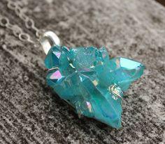 Big Blue Druzy Necklace - Agate Geode Necklace