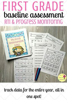 First grade customizable baseline assessment for whole class, RTI & progress monitoring.Plus forms to track growth for the entire year. The data collected is great for report cards, parent-teacher conferences, special education meetings, IEP meetings and more. Editable tracker to help you meet your specific needs.