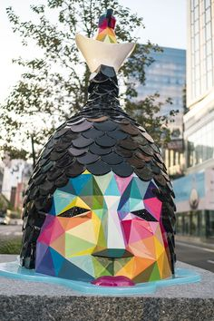 Air Sea Land: Okuda's Largest Public Art Project Brings Colorful Sculptures to the Streets of Boston Street Wall Art, Street Art Graffiti, Graffiti Artwork, Geometric Sculpture, Sculpture Art, Urban Intervention, Okuda, Atelier D Art, Colossal Art