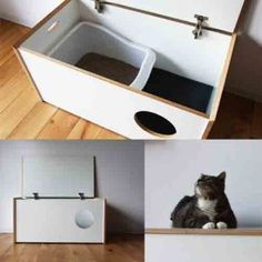 Litter box furniture - Perfect to hid the littler box and keep help keep the litter from getting all over the laundry room.  A MUST DO!