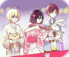 Armin, Mikasa, & Eren ~ festival games