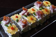 Sandwich cake with fun cheese flowers