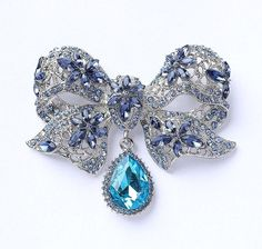 Blue Bow Brooch Silver Sapphire Royal Blue.
