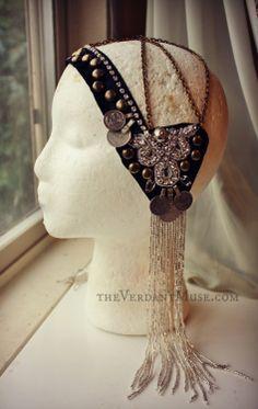 Tribal Fusion Headdress Noire  Black Silver Bead by theverdantmuse, $95.00