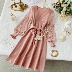 YuooMuoo Romantic Women Knitted Pink Party Dress 2019 Fall Winter V Neck Elegant Chiffon Long Sleeve Sashes Dress Ladies Dress Pink Party Dresses, Fall Dresses, Cheap Dresses, Dresses Dresses, Dress Sash, V Neck Dress, The Dress, Mode Hijab, Knit Dress