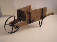 Miniature Wooden Wheelbarrow