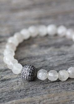 Diamond Rutilated Quartz Stacking Bracelet Beadwork