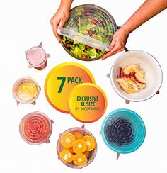 Silicone Stretch Lids (7 pack, includes EXCLUSIVE XL SIZE), Reusable, Durable and Expandable to Fit Various Sizes and Shapes of Containers. Superior for Keeping Food Fresh, Dishwasher and Freezer Safe ModFamily http://www.amazon.com/dp/B013QFYFCE/ref=cm_sw_r_pi_dp_x7R-wb1RF7EHP