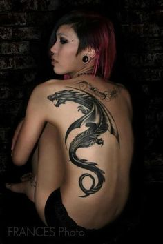 Sexy Dragon Tattoo Art On Back For Girls