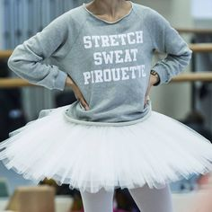 """Our """"Stretch, sweat, pirouette"""" jumper getting a workout in the studios during The Sleeping Beauty rehearsals!  Shop the full range exclusively on our site.  @klongersklongers"""
