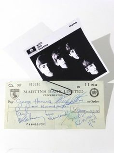 www.smartgallery.org.uk The Beatles signatures on a cheque