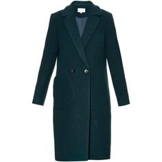 Carven Notch-lapel boiled wool-blend coat ($1,050) ❤ liked on Polyvore featuring outerwear, coats, dark green, double-breasted coat, boiled wool coat, blue double breasted coat, carven coat and blue coat