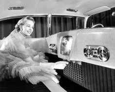 """1955 Cadillac Westchester  """"A 14-inch television, a telephone, tape recorder, and Korina gold wood paneling were among the unusual features of the 1955 Cadillac Westchester show car. Its fate is unknown."""" Via"""