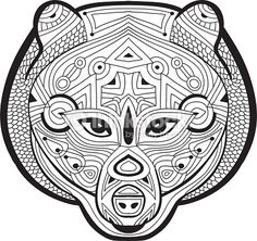 Ferocious bear is drawn by hand with ink. Hand-drawn figure of a Ferocious bear on the white background. Line art design. Coloring book for adults. Zendoodle. Tribal patterns.