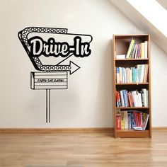 Drive-In Movie Theater Vintage Sign Vinyl Wall Words Decal Sticker Graphic