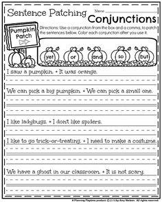 first grade fall worksheets pumpkin patching conjunction sentences - Fall Worksheets For First Grade