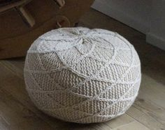 crochet ottoman pattern floor pin patterns knit pouf knitted cushion