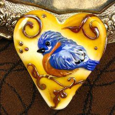 NEW  Lampwork Large Blue Bird Heart focal bead. $145.00, via Etsy.