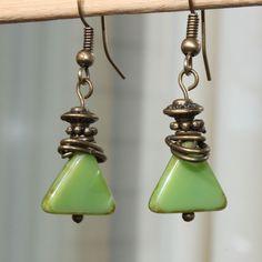 Green Earrings, Czech Glass Earrings, Dangle Earrings Jewelry Geometric Earrings Small Earrings by NtikArtJewelry on Etsy https://www.etsy.com/listing/204237603/green-earrings-czech-glass-earrings