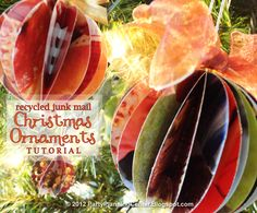 Free Recycled Junk Mail Christmas Ornaments Tutorial