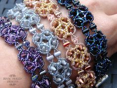 Beadwork (beadweaving) bracelet tutorial / pattern with spikes and rulla beads - Acantha on Etsy, $9.07
