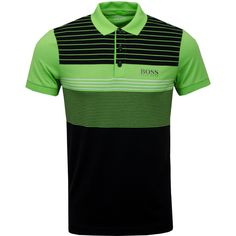 The Paddy Pro 1 from BOSS athleisure is a cotton mix polo with a three button placket and a graphic print on the front and back panels with a contrast. Black Polo Shirt, Summer Stripes, Polo Shirts, Athleisure, Boss, Mens Fashion, Green, Cotton, Mens Tops