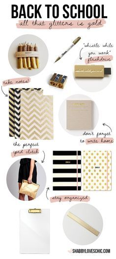 back to school supplies in gold