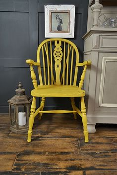 Why not grab a book and while away the hours on our wheelback armchair in Vintro Sunflower. We've heavily aged and distressed this gorgeous chair, to create an old rustic and worn look. Perfect for a kitchen, bedroom or living room. http://www.thetreasuretrove.co.uk/seating/yellow-shabby-chic-aged-carver-chair