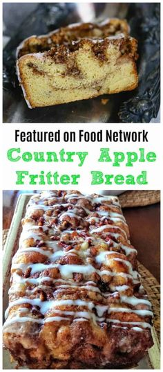 Awesome Country Apple Fritter Bread Recipe - Fluffy, buttery, white cake loaf loaded with chunks of apples and layers of brown sugar and cinnamon swirled inside and on top. Apple Recipes, Bread Recipes, Cookie Recipes, Dessert Recipes, Easy Desserts, Cookie Tips, Healthy Desserts, Healthy Recipes, Apple Fritter Bread