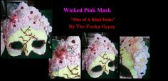 Wicked Pink Mask One of A Kind by TheFunkyGypsy on Etsy, $135.00