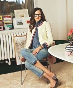 Love Her Style, Looks Style, Tweed Chanel, Chanel Jacket, Mode Outfits, Casual Outfits, Fashion Outfits, Jenna Lyons, Looks Jeans
