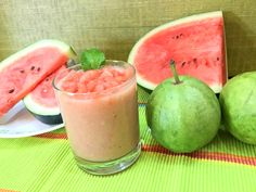 As you all know Watermelon juice is very refreshing drink. To make it even more refreshing and unique mix it with Guava fruit. Watermelon Smoothie Recipes, Baby Smoothies, Pregnancy Smoothies, Vegan Smoothies, Juice Smoothie, Guava Fruit Juice, Guava Drink, Guava Recipes, Veg Recipes