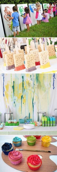 Paintbrush party. Rice Krispie treats