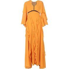 Giambattista Valli Long Dress (3 190 AUD) ❤ liked on Polyvore featuring dresses, orange, deep v-neck dress, shirring dress, long sleeve ruched dress, long dresses and orange long dress