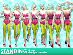 8 random standing poses + 1 all-in-one pose.  Found in TSR Category 'Sims 4…