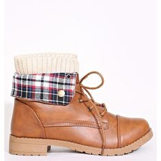 Plaid And Knit Detail Combat Boots ($29) ❤ liked on Polyvore featuring shoes, boots, ankle booties, cognac, fold-over combat boots, military boots, cognac boots, cognac booties and lace up booties