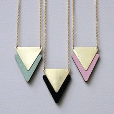 Wooden chevron necklace wood laser cut brass triangle laser cut color block geometric tribal aztec retro mint chevron pastel