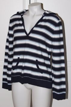 Navy, light blue & white striped pullover knit sweater hoodie - XL #Route66 #Hooded