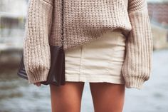 Big sweater with tight skirt