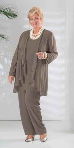 Veromia truffle chiffon jacket, vest and trouser