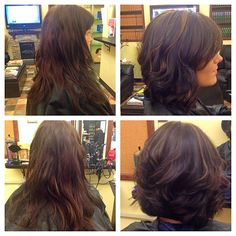Before/after. Long to short! Beautiful Bob haircut color highlights