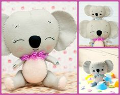 PDF pattern. Koalas: mom and baby. Plush Doll Pattern, Softie Pattern, Soft felt Toy Pattern.