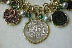 18k gold charm bracelet w/ ancient coins, pearls , tourmalines