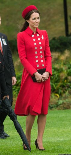 Kate Middleton wearing Kiki McDonough Grace Earrings, Emmy Shoes Valerie Pumps, Catherine Walker Russian Greatcoat, Gina Foster Seaford Hat, Fern Brooch Royal Collection at Wellington Military Terminal in New Zealand. April 7, 2014. #KateMiddleton
