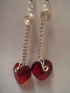faceted cut glass red crystal heart dropper earrings £2.50