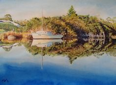 Early morning glow at Brodport. N.E. Tasmania. Watercolour. Melhillswildart